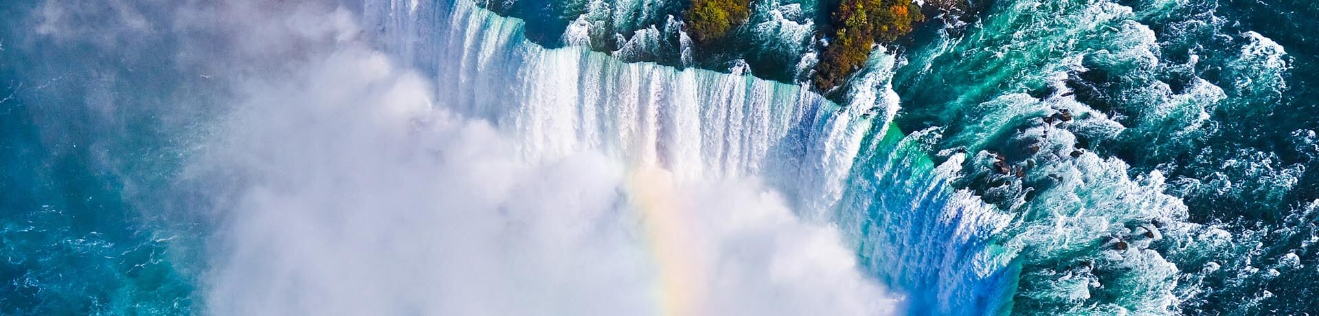 Aerial view of amazing niagara falls, Canada and United States of America