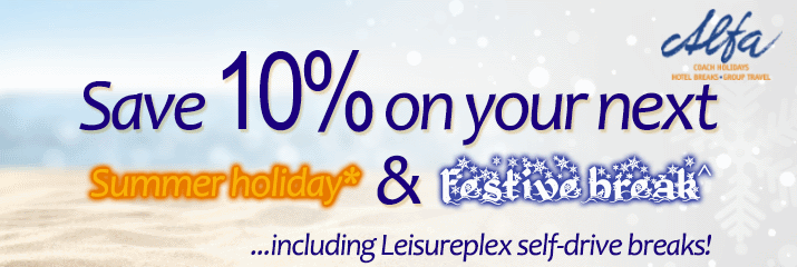 Save 10% off Alfa holidays this August, November & December