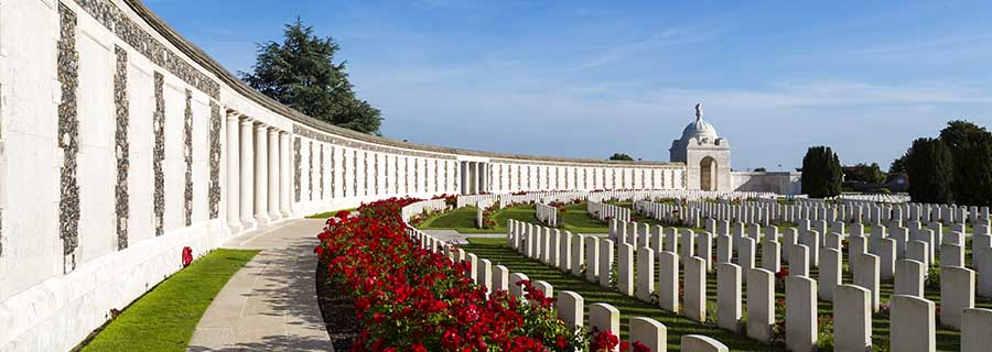 Tyne Cot World War One Cemetery, the largest British War cemetery in the world. near Ypres, Flanders, Belgium