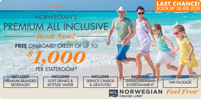 Norwegian Cruise Line - $1,000 Onboard Credit & Premium All Inclusive