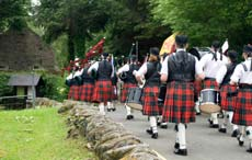 Scottish pipe band marching