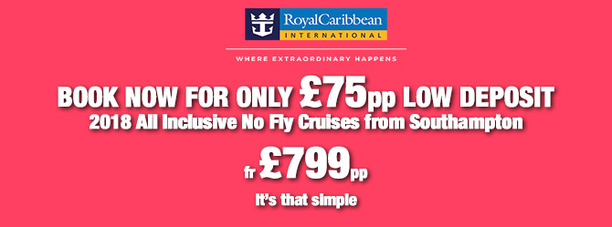 Book your amazing Royal Caribbean Cruise with just £75pp deposit